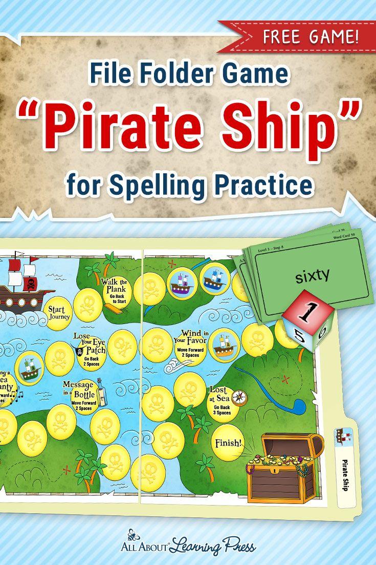 Free Printable Pirate-Themed File Folder Game To Practice Spelling - Free Printable Folder Games
