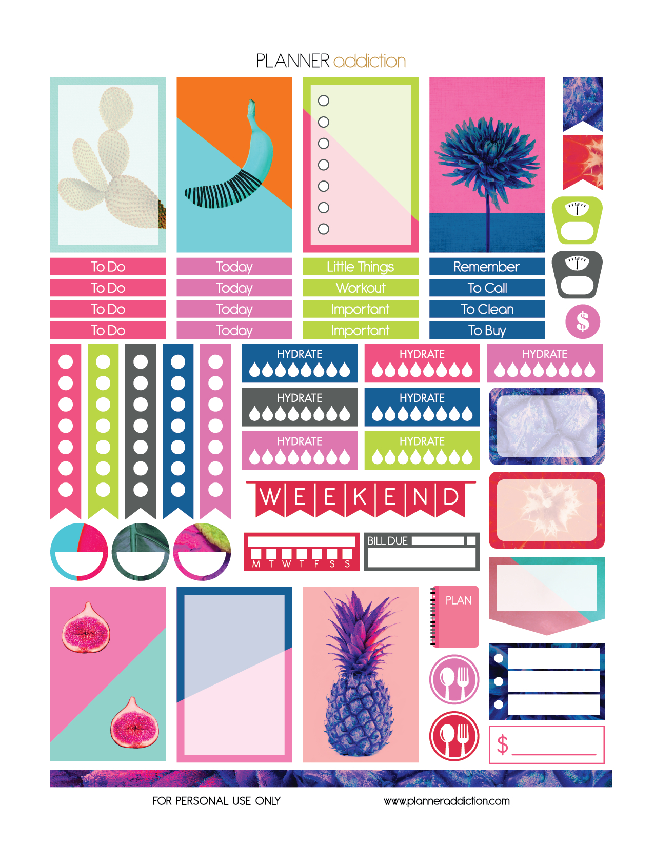 Free Printable Planner Stickers - Tropical Pop Art - Happy Planner - Free Printable Happy Planner Stickers