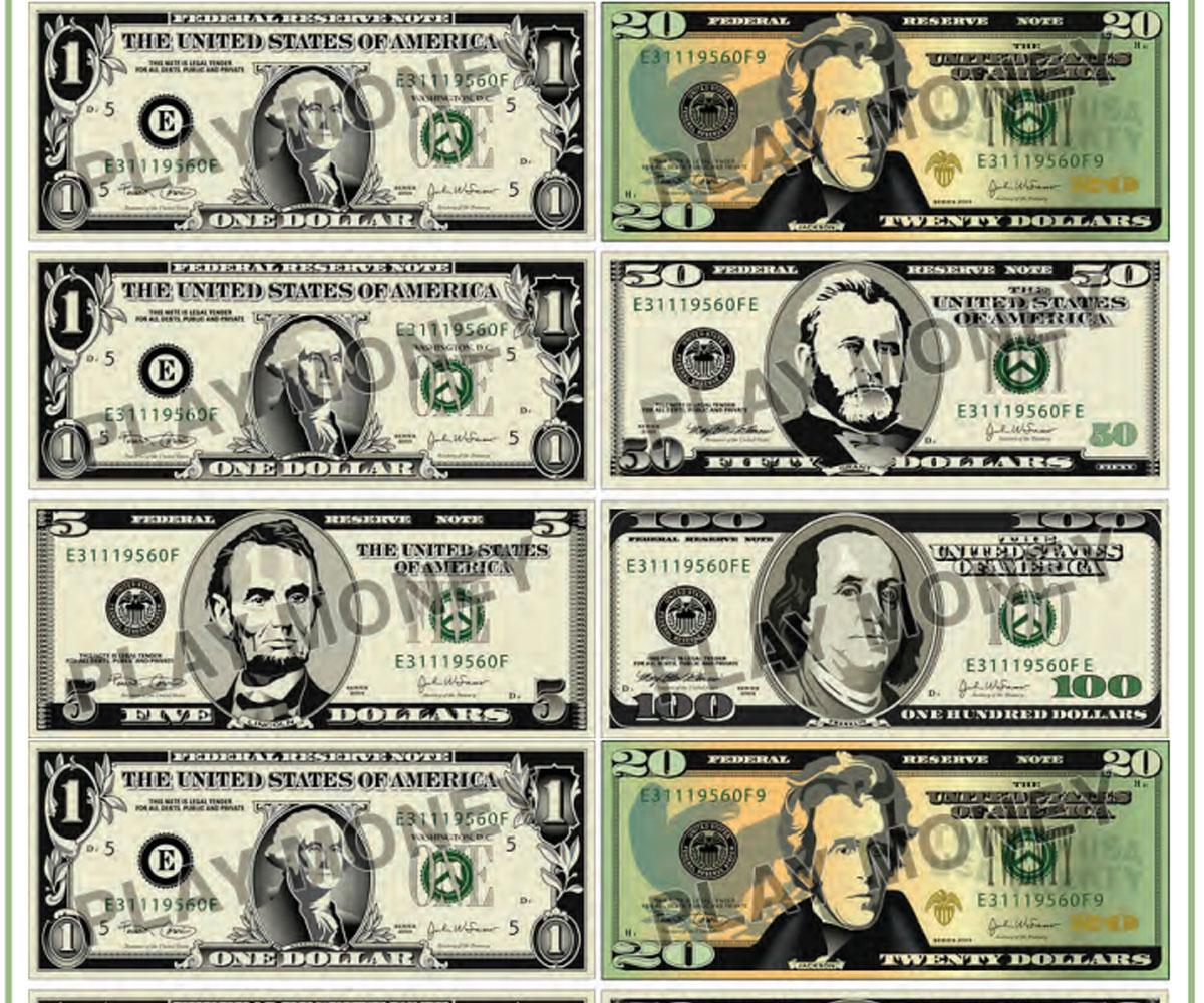 Free Printable Play Money - Familyeducation - Free Printable Play Dollar Bills
