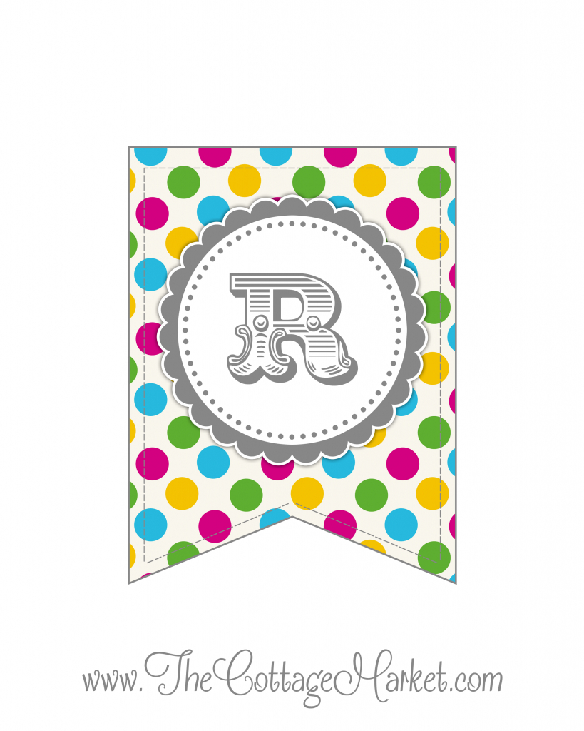 Free Printable Polka Dot Party Banner | The Cottage Market - Free Printable Alphabet Letters For Banners