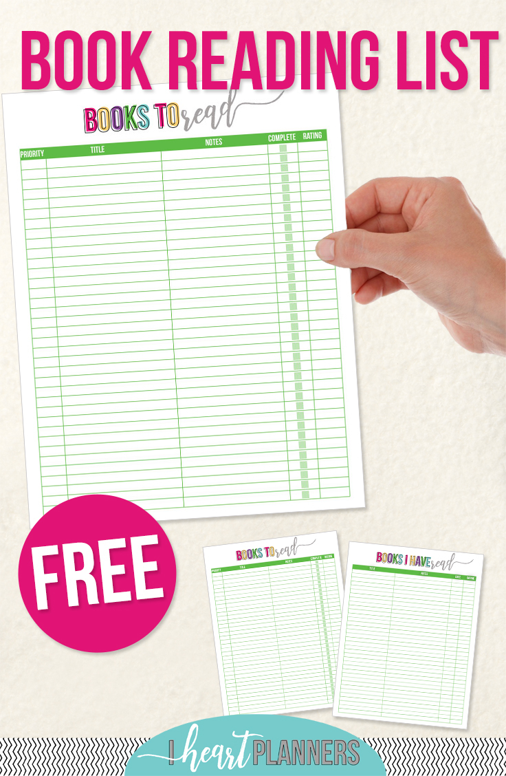 Free Printable Reading List - I Heart Planners - Free Printable Books