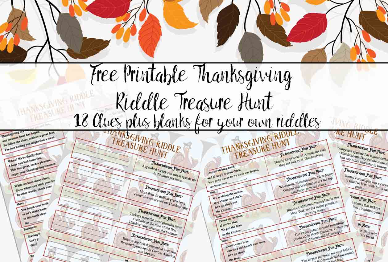Free Printable Thanksgiving Riddle Treasure Hunt: 18 Mix-And-Match Clues - Free Printable Riddles