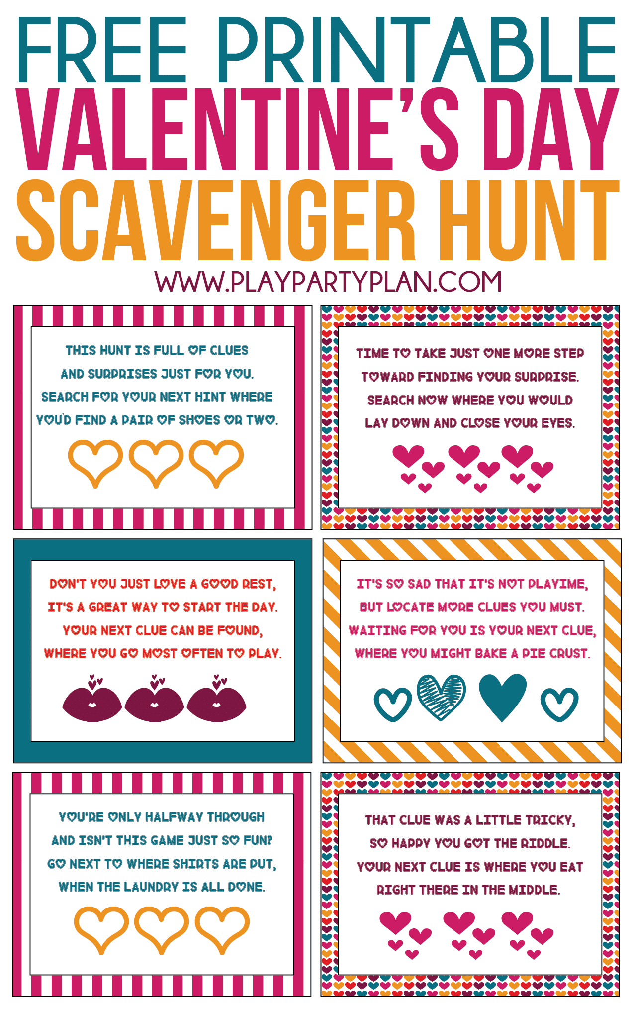 Free Printable Valentine's Day Scavenger Hunt Kids & Adults Will Love - Free Printable Treasure Hunt Games