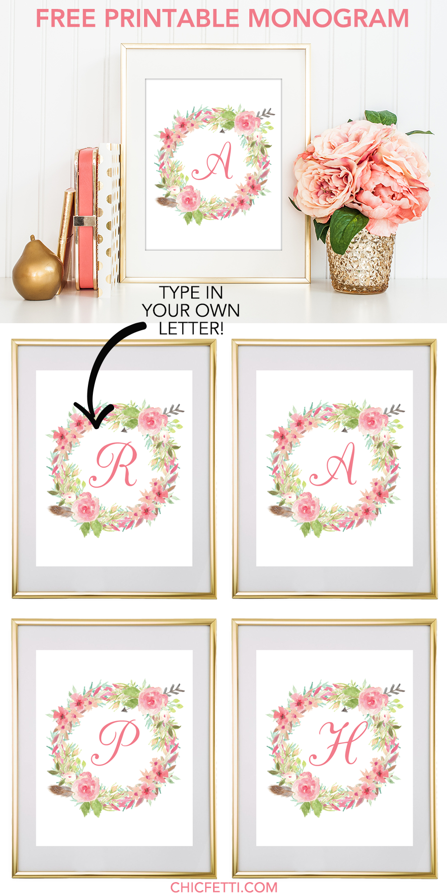 Free Printable Water Color Floral Wreath Monogram Maker From - Free Printable Flower Letters