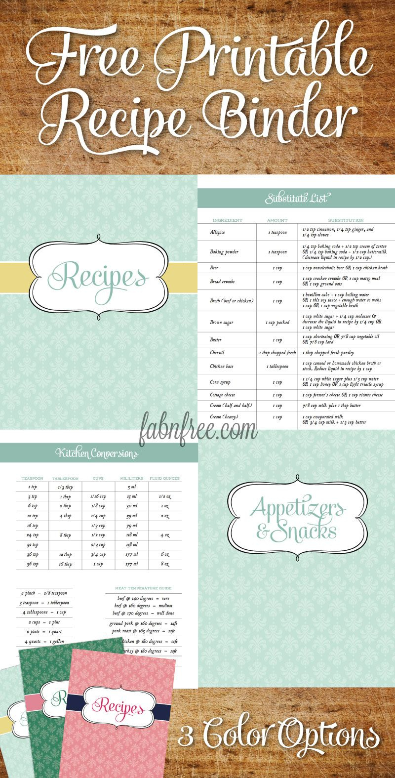Free Recipe Binder In 3 Color Options   Fabnfree // Our Free Stuff - Free Printable Recipes