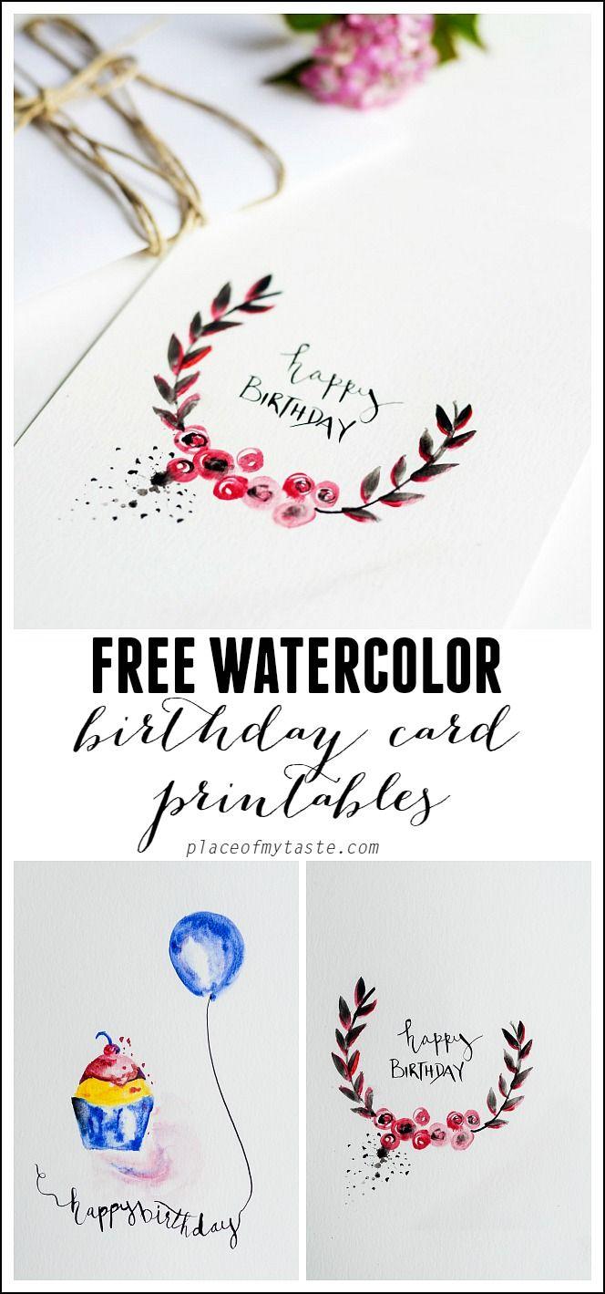 Free Watercolor Birthday Card Printables   Printables   Watercolor - Free Printable Birthday Cards For Mom