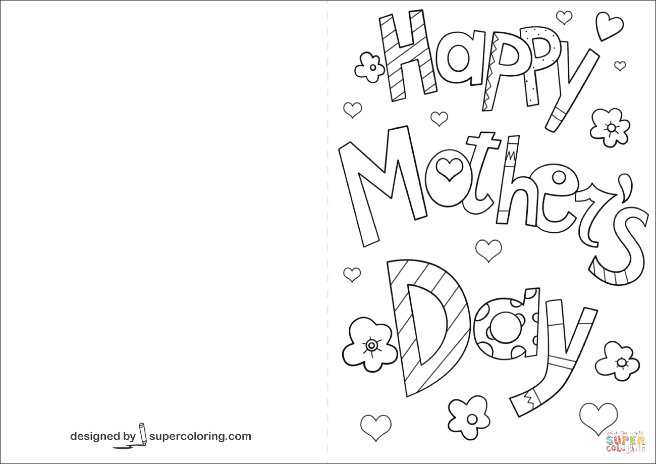 Happy Mother's Day Card Coloring Page   Free Printable Coloring Pages - Free Printable Mothers Day Coloring Cards