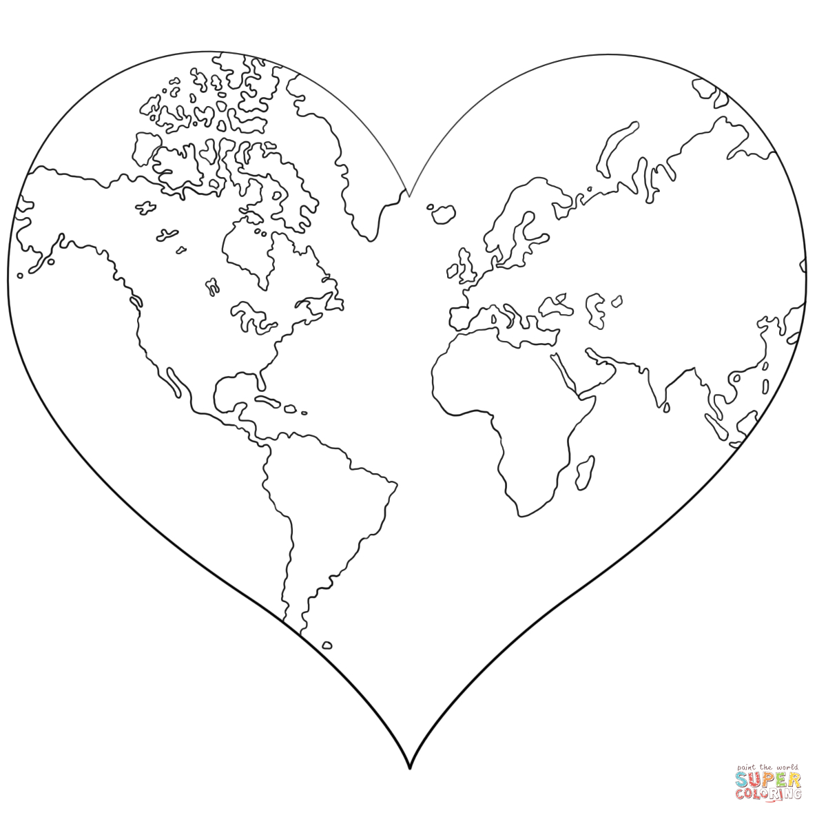 Heart Shaped Earth Coloring Page   Free Printable Coloring Pages - Earth Coloring Pages Free Printable