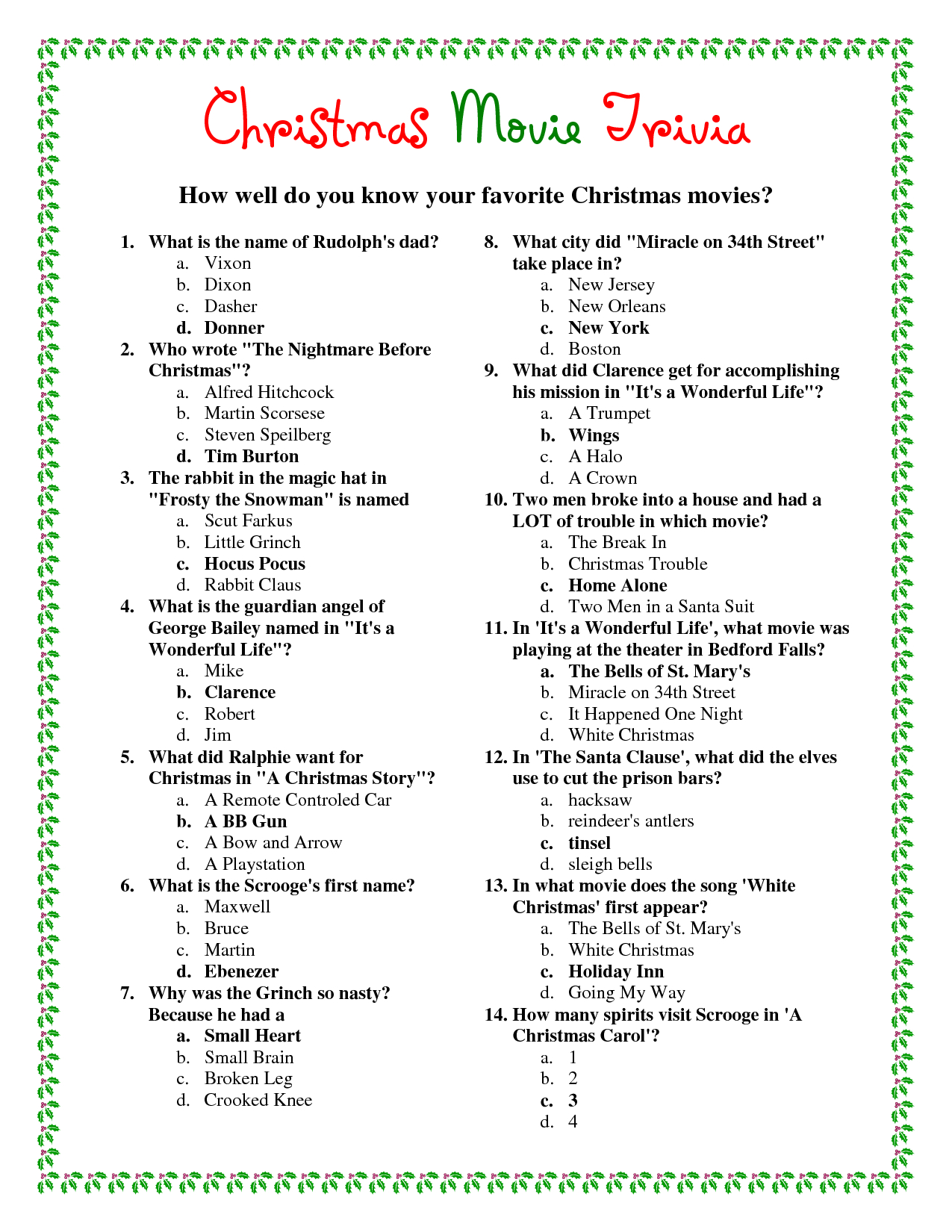 Ideas Collection Easy Christmas Trivia Questions And Answers - Free Printable Trivia Questions And Answers
