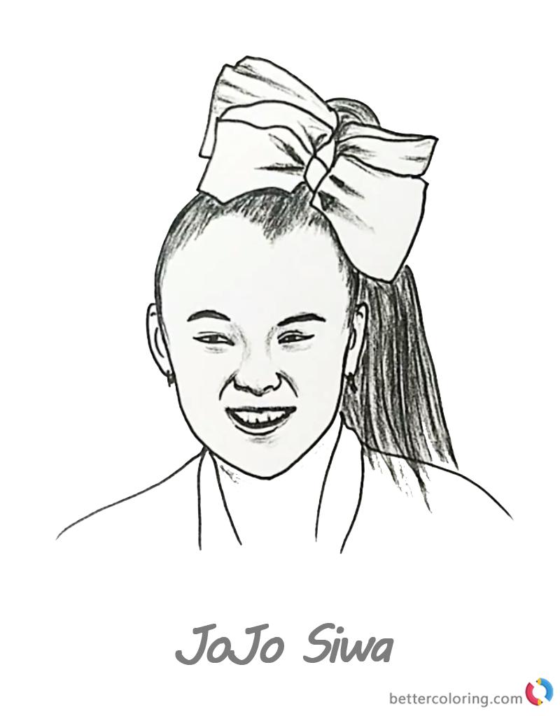 Jojo Siwa Coloring Pages Pencil Drawing Free Printable Coloring - Free Printable Pencil Drawings