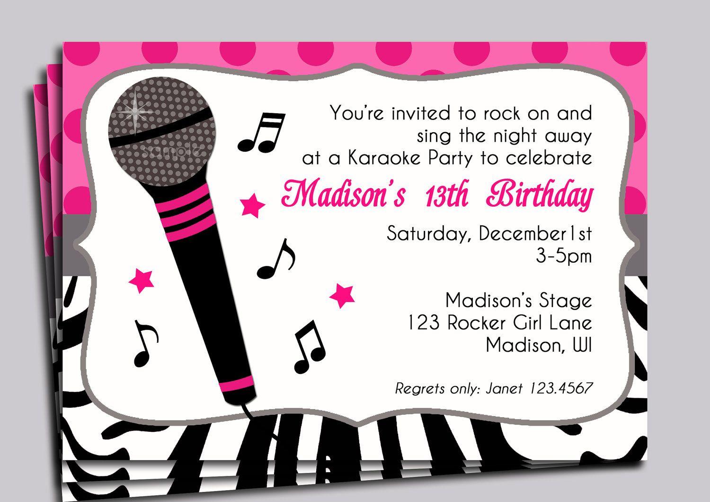 Karaoke Party Invitation Printable - Sing, Microphone, Rock Star - Free Printable Karaoke Party Invitations