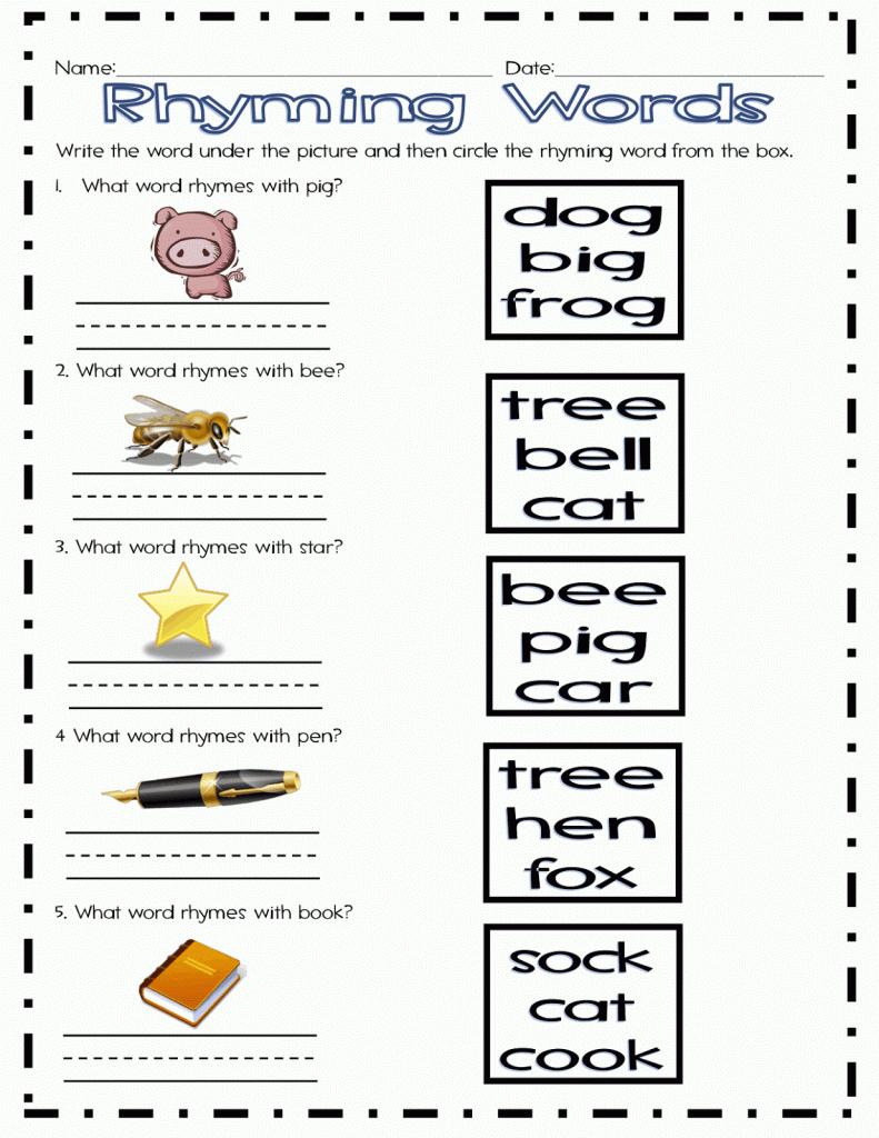 Kindergarten Rhyming Worksheets Cut And Paste For All - Free Printable Rhyming Words