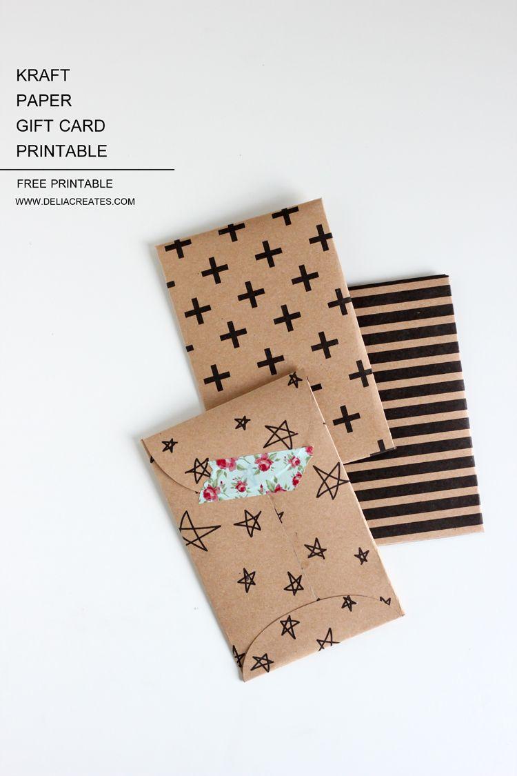 Kraft Paper Gift Card Envelope Free Printable | Diy - Papers - Free Printable Gift Card Envelope Template