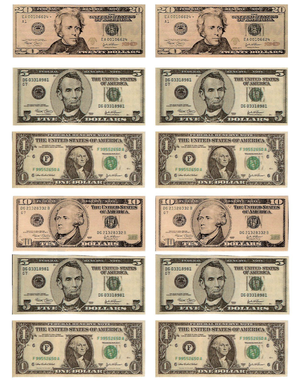 Legal, Free, Printable Money For Teaching The Kids About American - Free Printable Play Money Sheets