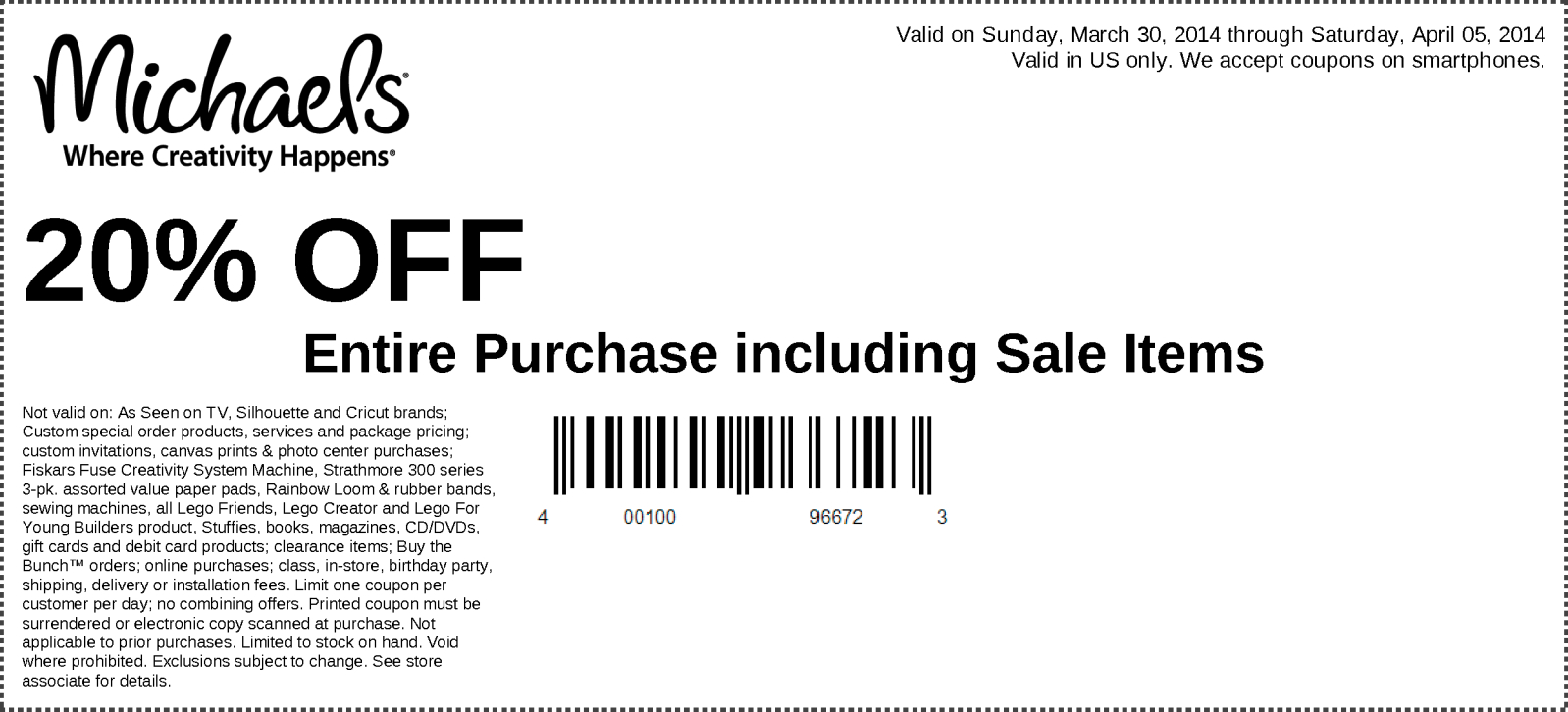 Michaels - 20% Off Your Entire In-Store Purchase - Exp. 04/05/14 - Free Printable Michaels Coupons