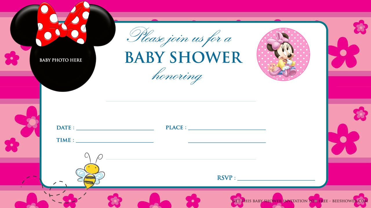Minnie Mouse Baby Shower Invitations | Party Design Ideas | Mickey - Free Printable Minnie Mouse Baby Shower Invitations