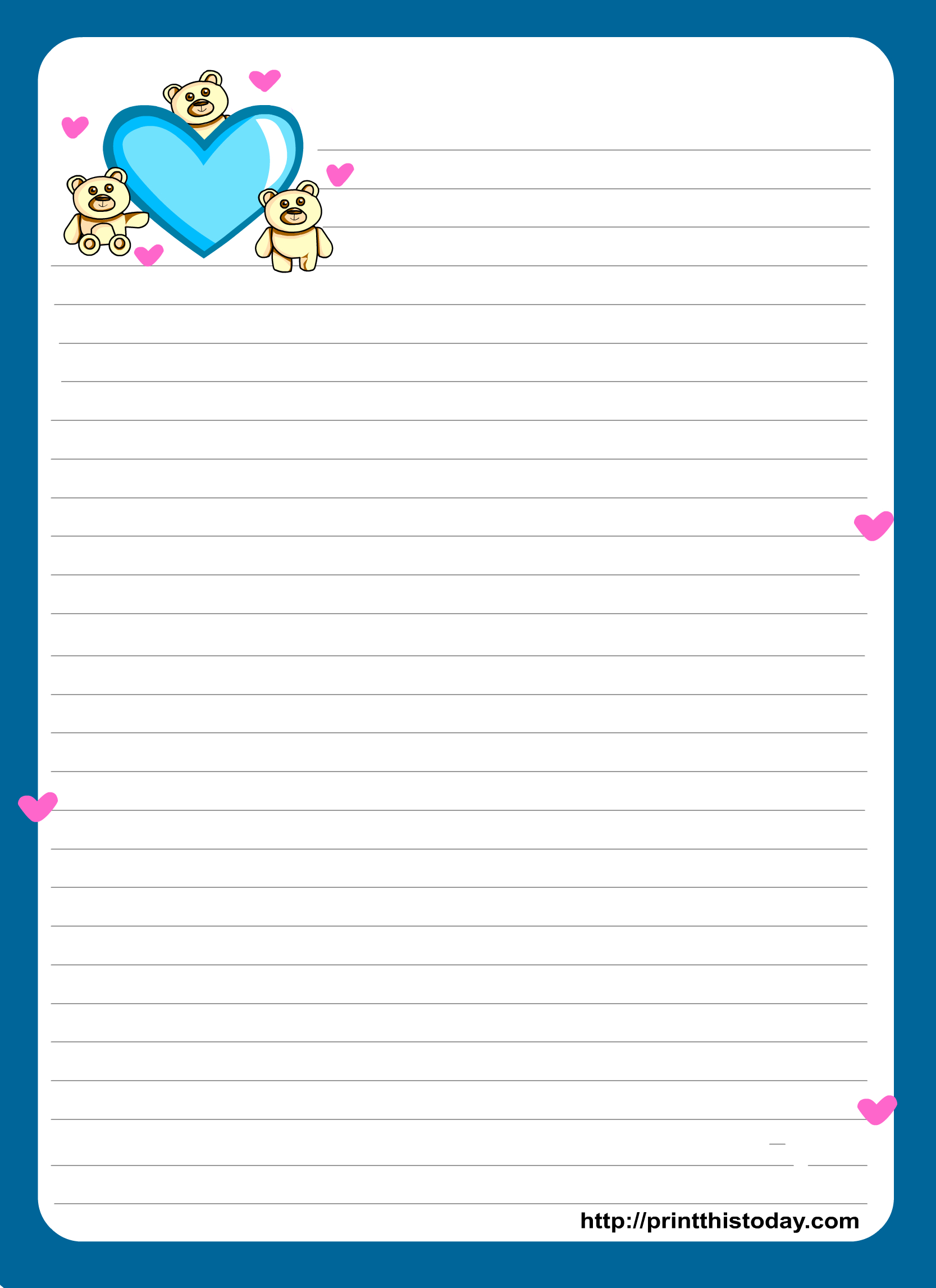 Miss You Love Letter Pad Stationery   Lined Stationery   Free - Free Printable Stationery Writing Paper