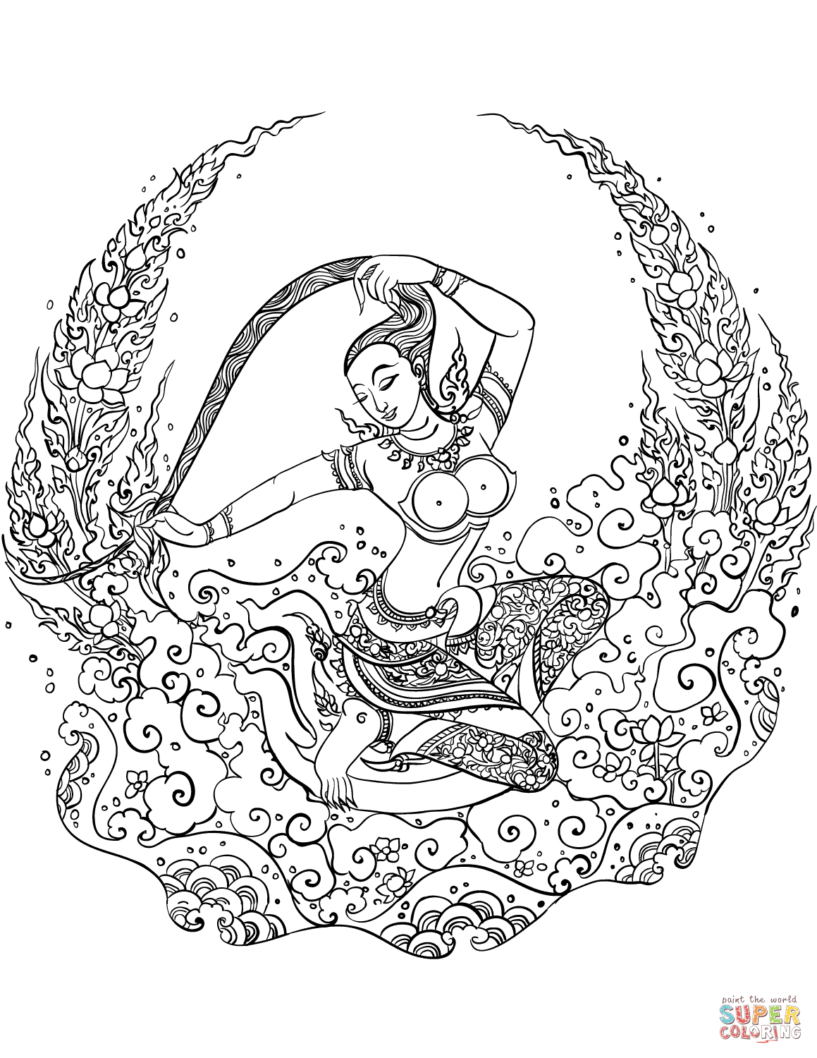 Mother Earth - Phra Mae Thorani Coloring Page   Free Printable - Earth Coloring Pages Free Printable
