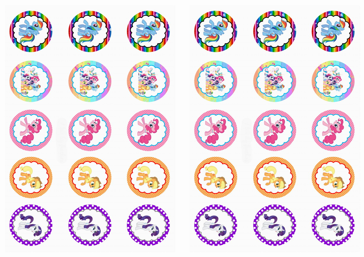 My Little Pony Stickers | Birthday Printable - Free Printable My Little Pony Cupcake Toppers