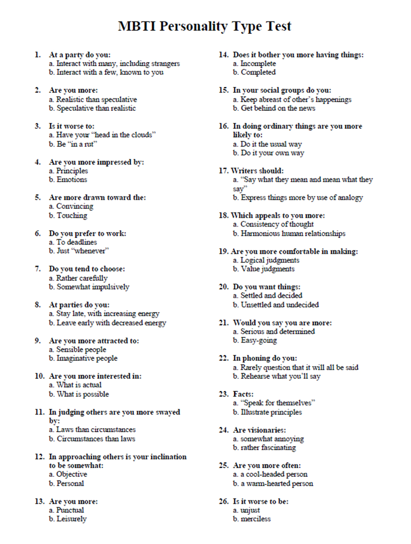 Myers Briggs Personality Type Test   Take The Mbti Test - Free Printable Compatibility Test For Couples