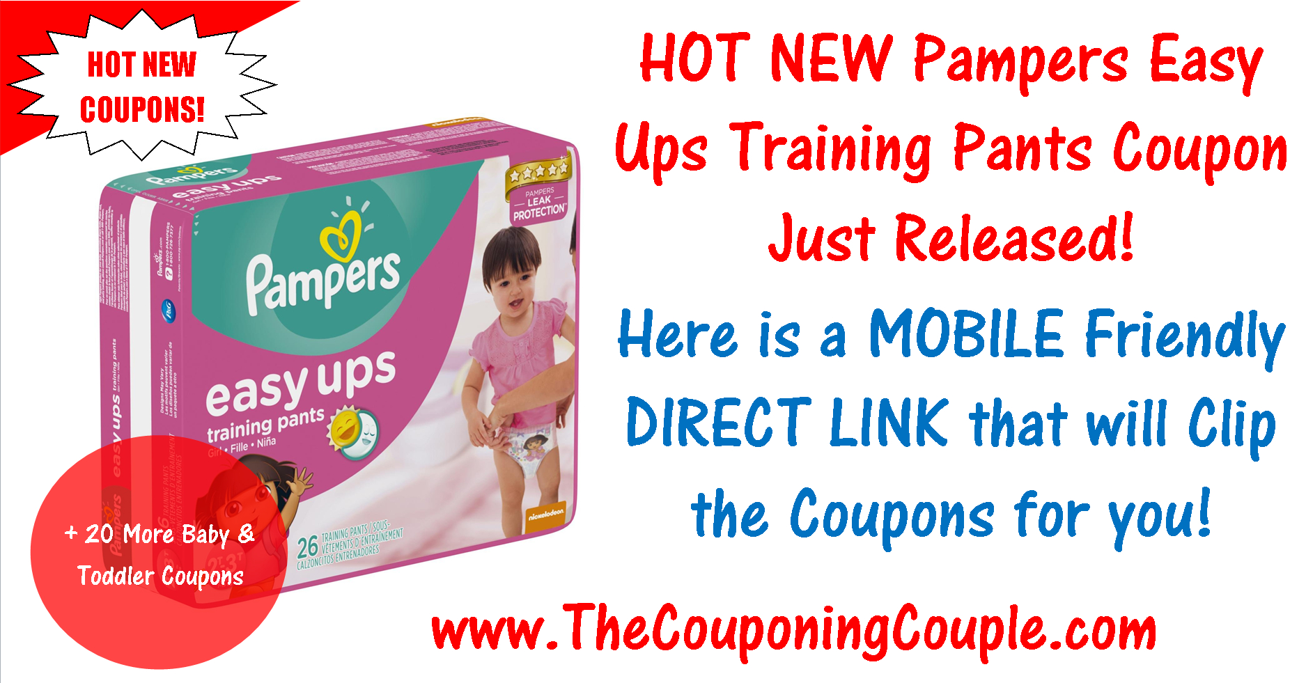 New Pampers Easy Ups Training Pants Coupon ~ Print Now! - Free Printable Coupons For Pampers Pull Ups