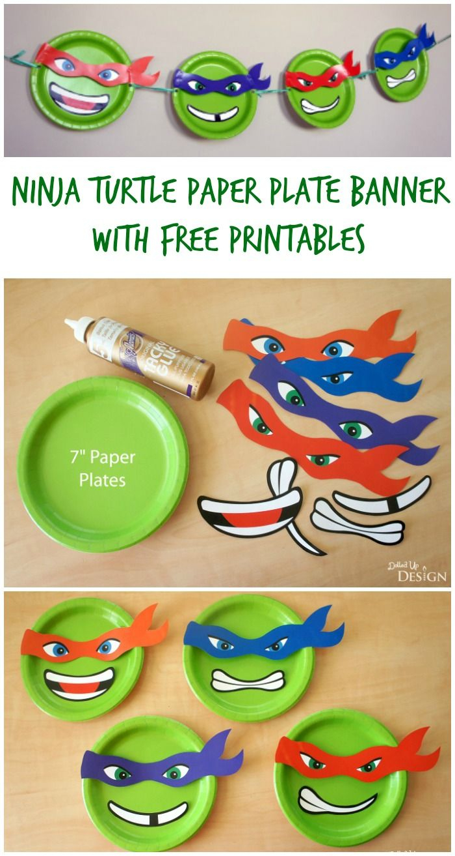 Ninja Turtle Paper Plate Banner With Free Printables   Moms - Free Printable Teenage Mutant Ninja Turtle Cupcake Toppers
