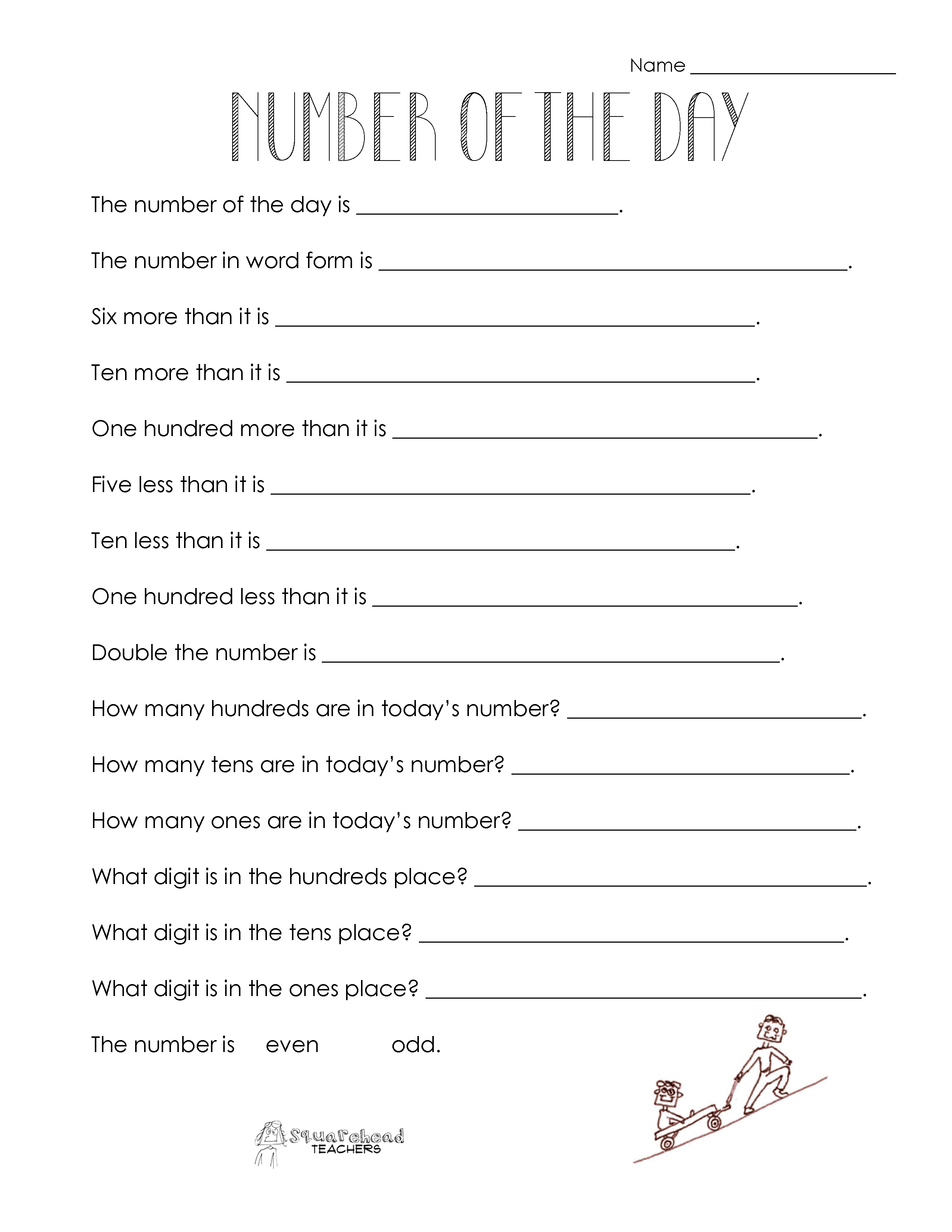 Number Of The Day (Worksheet Collection) | Squarehead Teachers - Free Printable Number Of The Day Worksheets