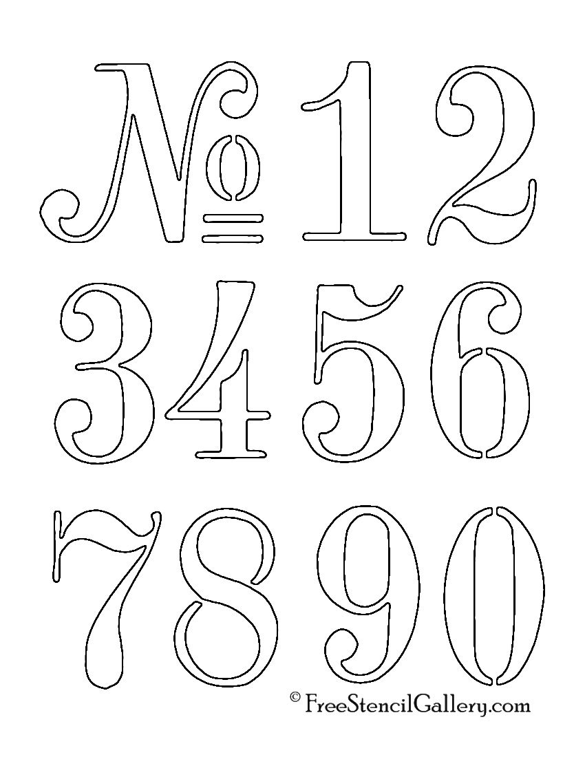 Numbers Stencil … | Outdoor Decor | Stenc… - Free Printable Fancy Number Stencils