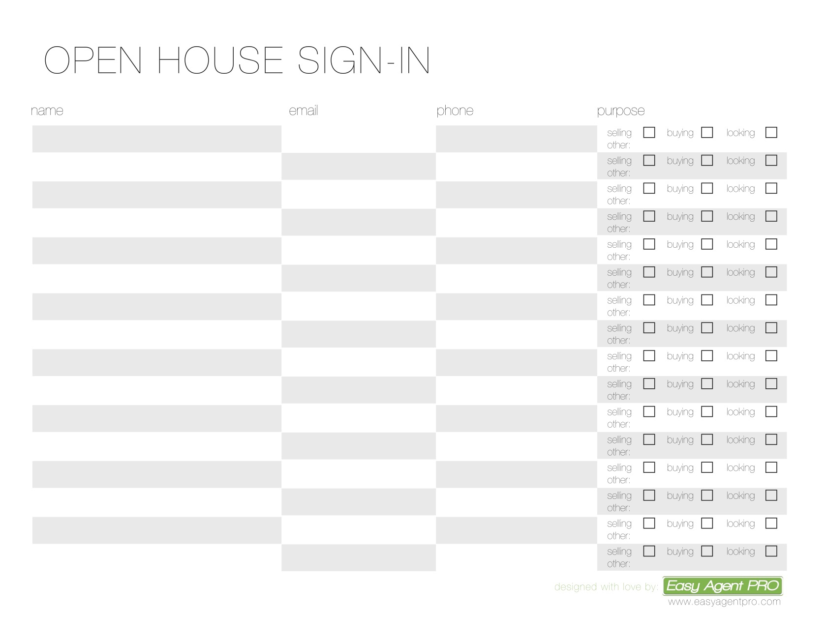 Open House Sign In Sheet Printable Templates (Free & Ready For Use) - Free Printable Sign In Sheet
