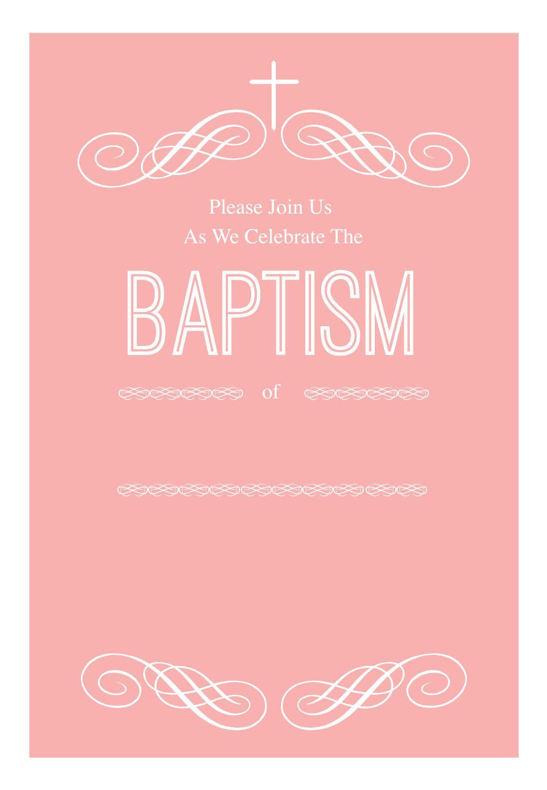 Pink Decorations - Free Printable Baptism & Christening Invitation - Free Printable Baptism Greeting Cards