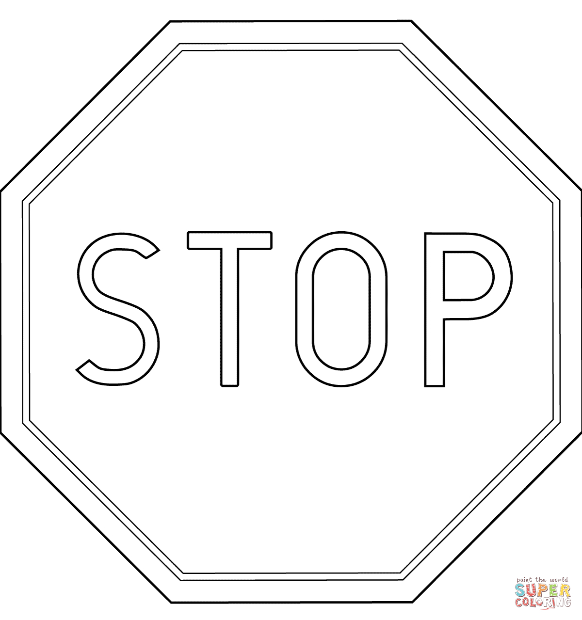 Poland Stop Road Sign B-20 Coloring Page   Free Printable Coloring Pages - Free Printable Stop Sign To Color