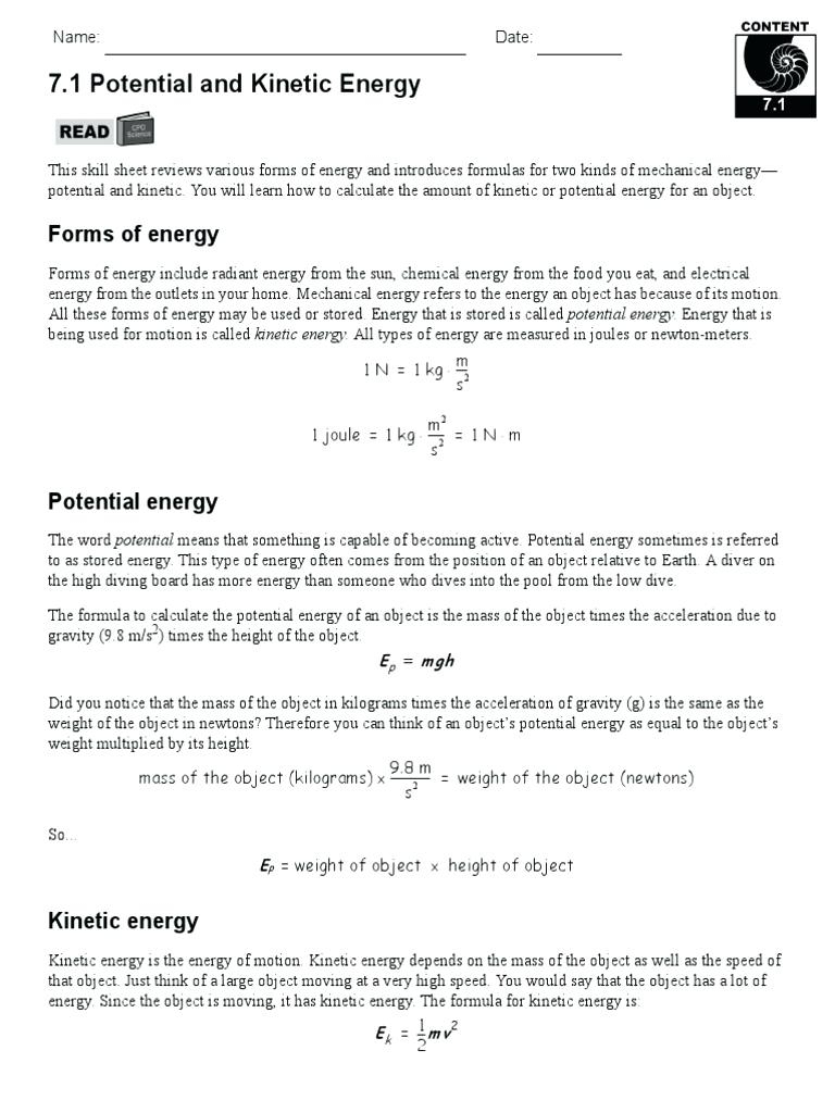 Potential Vs Kinetic Energy Worksheet Worksheets - Classy World - Free Printable Worksheets On Potential And Kinetic Energy
