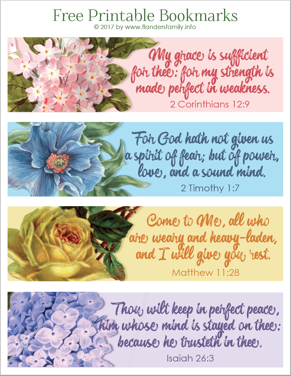 Pretty Printable Scripture Bookmarks - Flanders Family Homelife - Free Printable Bookmarks With Bible Verses