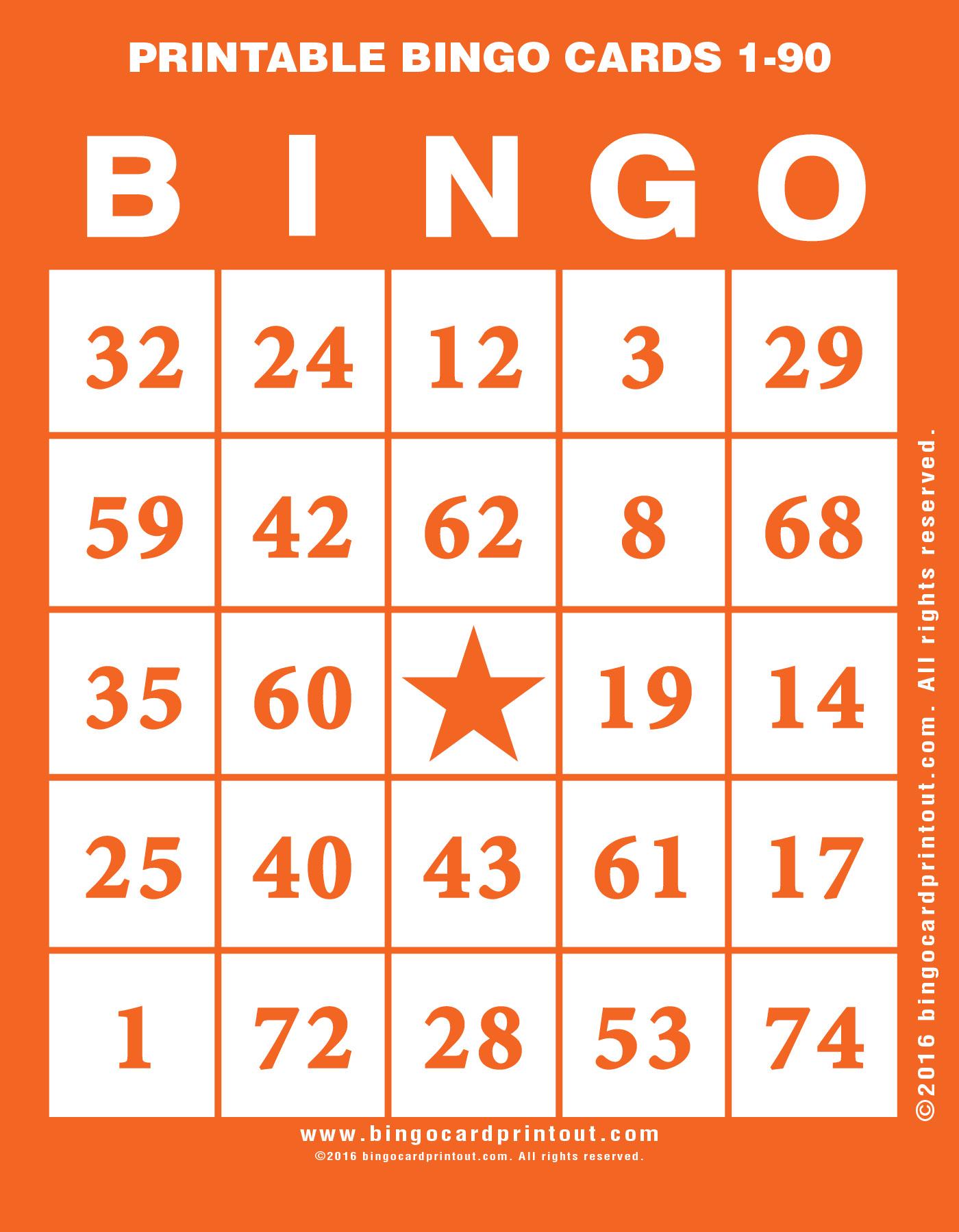 Printable Bingo Cards 1-90 - Bingocardprintout - Free Printable Bingo Cards With Numbers