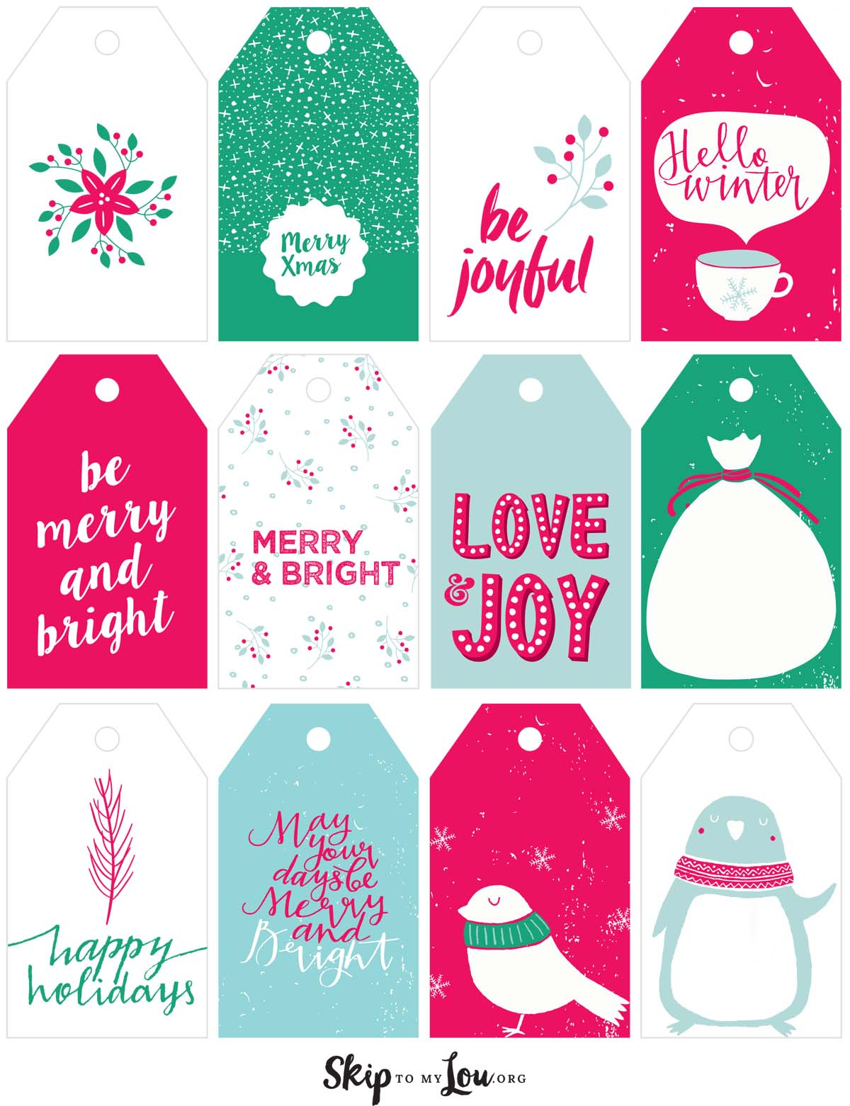 Printable Christmas Gift Tags | Skip To My Lou - Free Printable To From Gift Tags