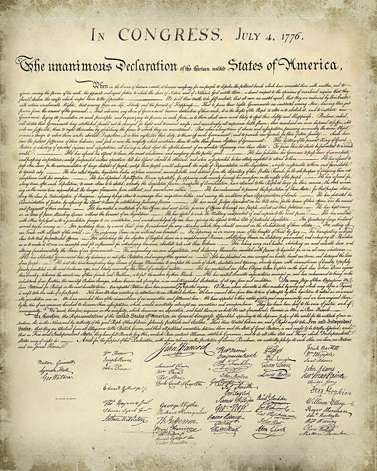 Printable Copy Declaration Independence    And Simple: Free - Free Printable Copy Of The Declaration Of Independence