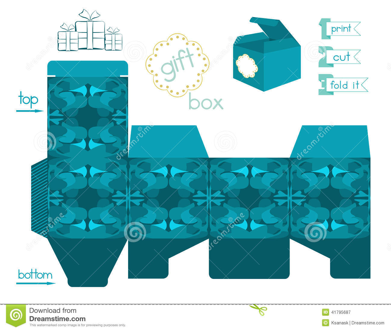 Printable Gift Box With Abstract Pattern Stock Vector - Illustration - Printable Box Templates Free Download