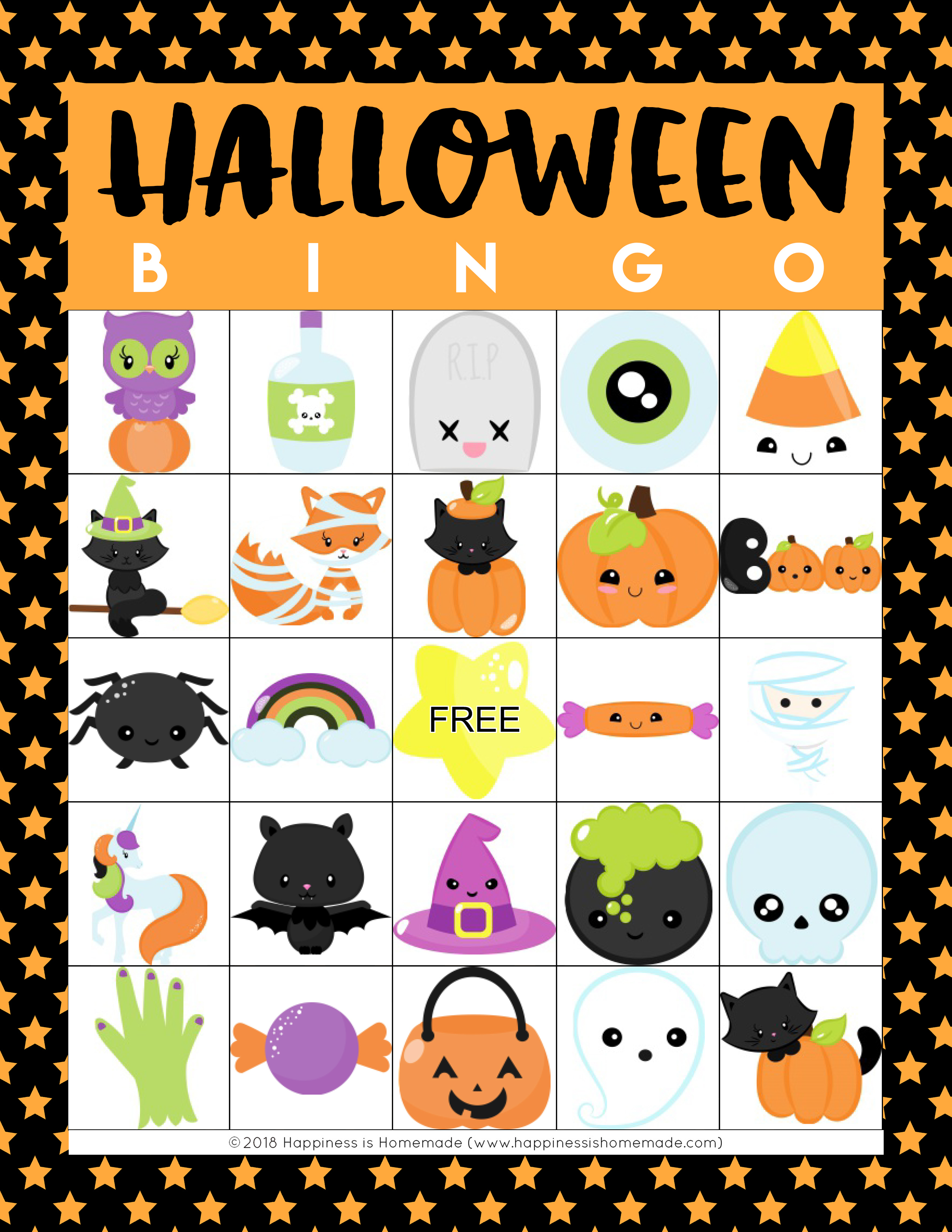 Printable Halloween Bingo Cards - Happiness Is Homemade - Free Printable Halloween Cards