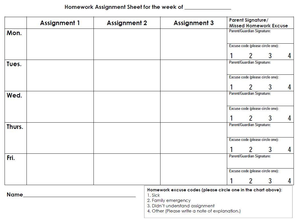 Printable Homework Sheets Weekly Calendar - 17.17.ybonlineacess.de • - Free Printable Homework Templates