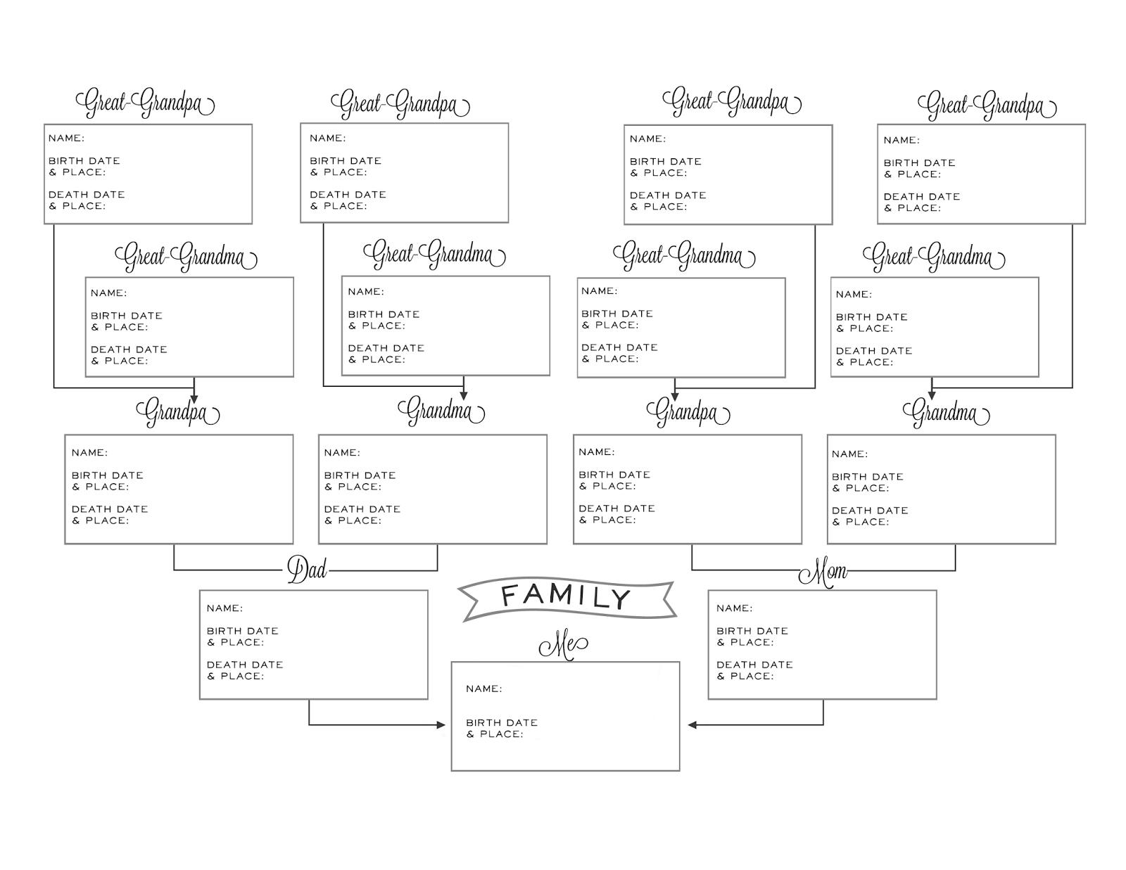Printable Pedigree Chart | Ellipsis - Free Printable Genealogy Worksheets