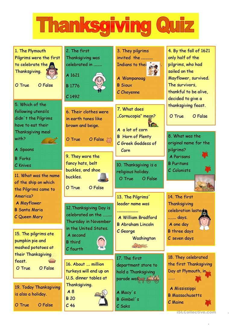 Printable Thanksgiving Trivia And Answers | Thanksgiving Quiz - Free Printable Thanksgiving Worksheets For Middle School