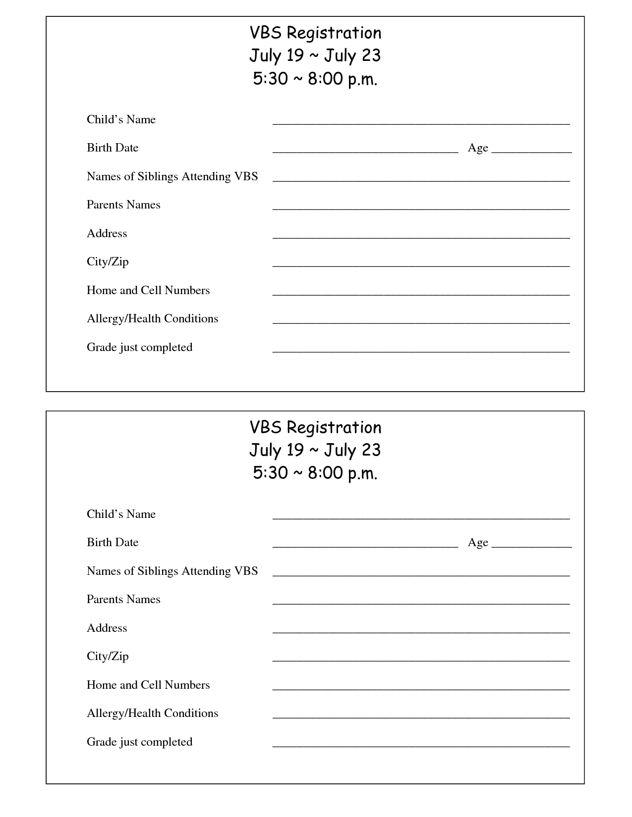Printable Vbs Registration Form Template | Conference | Bible School - Free Printable Vacation Bible School Materials