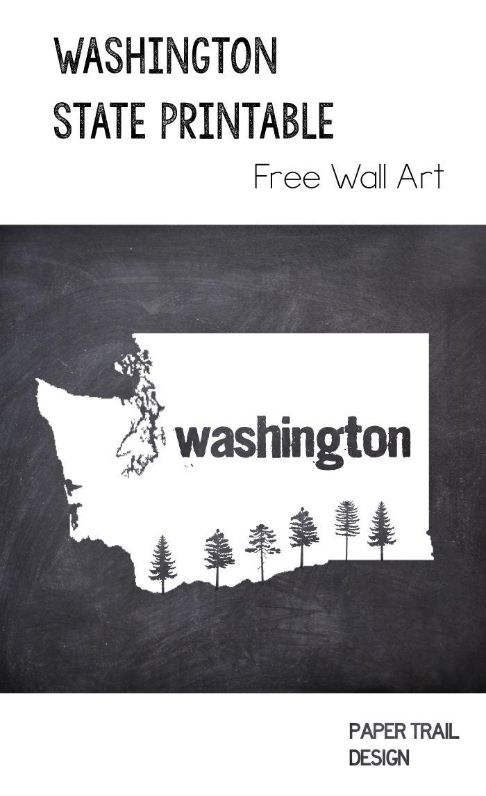 Printable Wall Art: Washington State Silhouette With Trees | Free - Free Printable Map Of Washington State