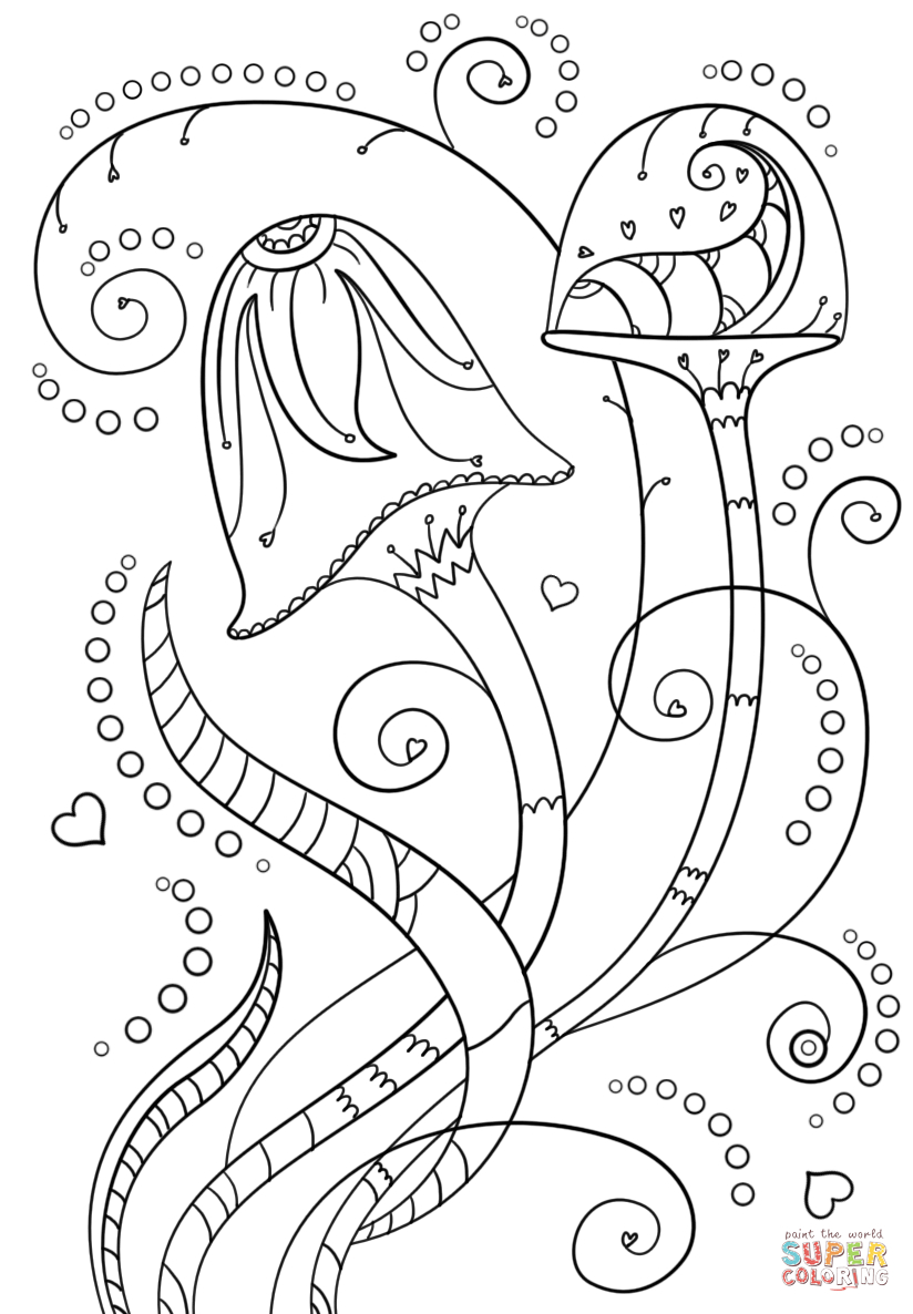 Psychedelic Mushrooms Coloring Page   Free Printable Coloring Pages - Free Printable Mushroom Coloring Pages