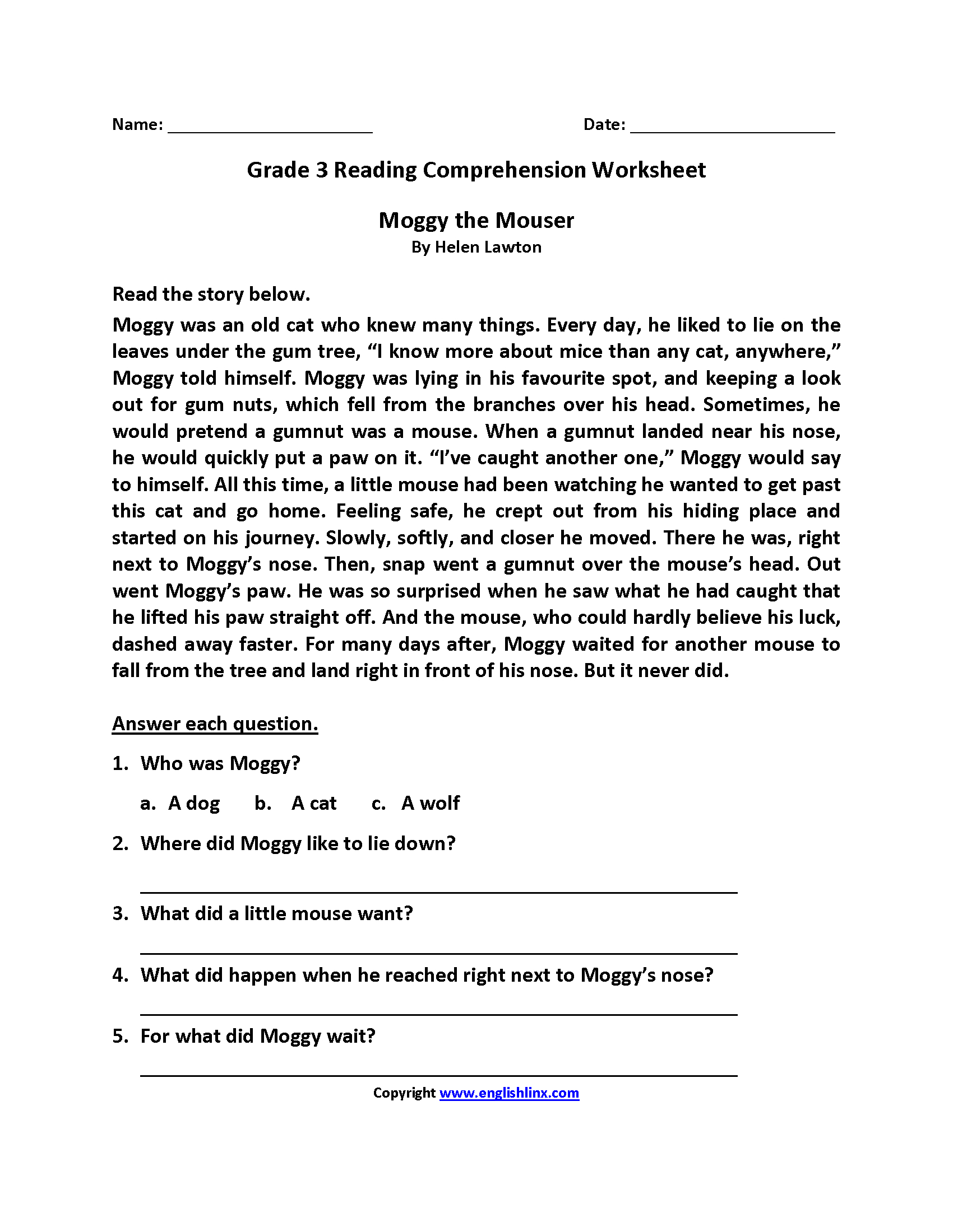 Reading Worksheets | Third Grade Reading Worksheets - Free Printable 3Rd Grade Reading Worksheets