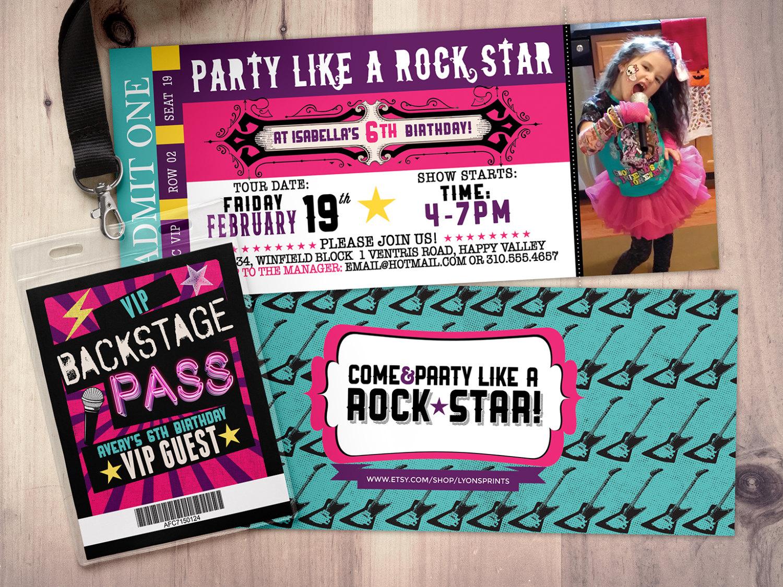Rock Star Concert Ticket Birthday Party Invitation- Music Invitation - Free Printable Karaoke Party Invitations