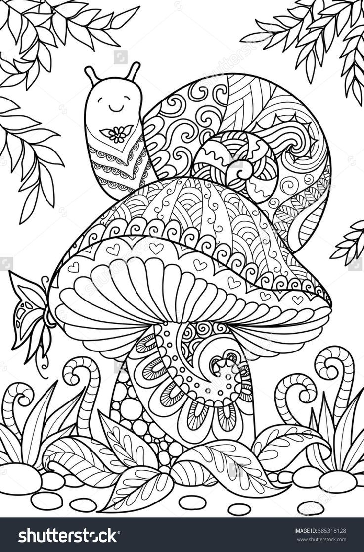 Snail Sitting On Beautiful Mushroom For T-Shirt Design, Tattoo And - Free Printable Mushroom Coloring Pages
