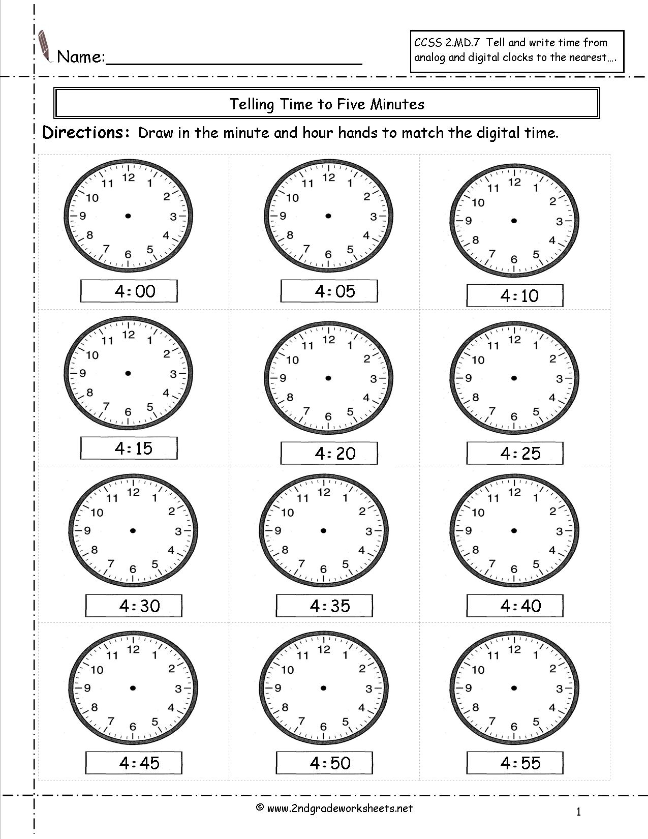 Telling And Writing Time Worksheets - Free Printable Telling Time Worksheets