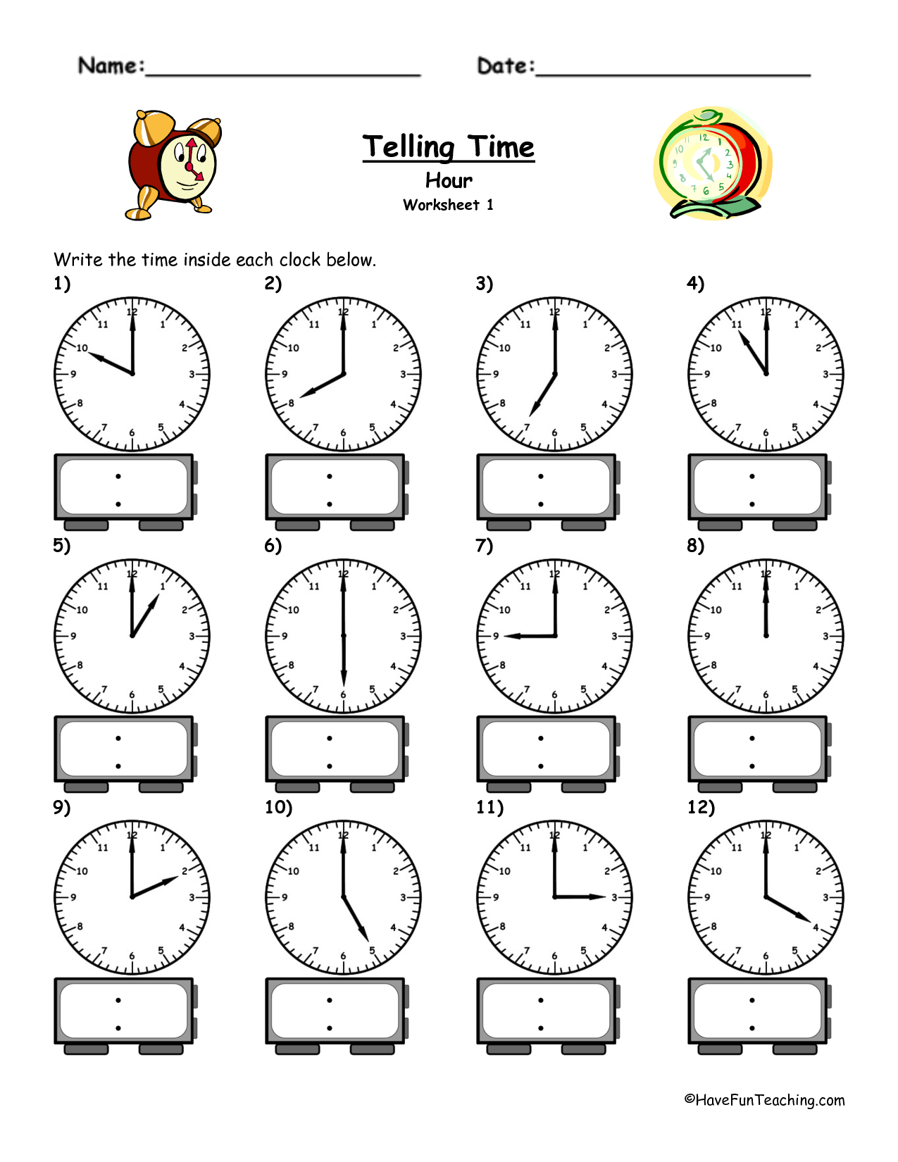Telling Time Worksheets - Google Search | L'heure | Pinterest - Free Printable Telling Time Worksheets