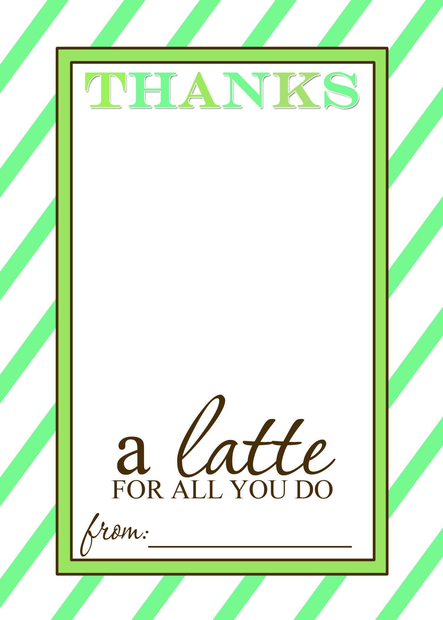 Thanks A Latte Free Printable Gift Card Holder Teacher Gift   Craft - Thanks A Latte Free Printable